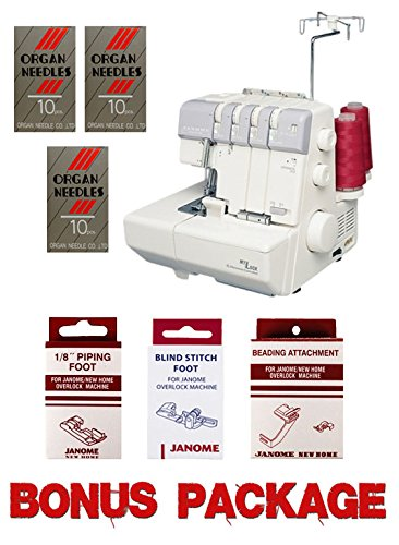 Janome MyLock 634D Overlock Serger, with Self Threading Lower Looper, Differential Feed, 2 needle, 2/3/4 Thread Overlock Stitching with FREE BONUS PACKAGE! (Serger Auto Thread compare prices)