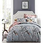 Exotic Modern Floral Print Bedding Birds Peacock Hummingbird Flowers Dusty Grey Design 100% Cotton Full Queen Duvet Cover 3pc Set Hibiscus Blossom Branches in Muted Gray Blue Full Queen Size