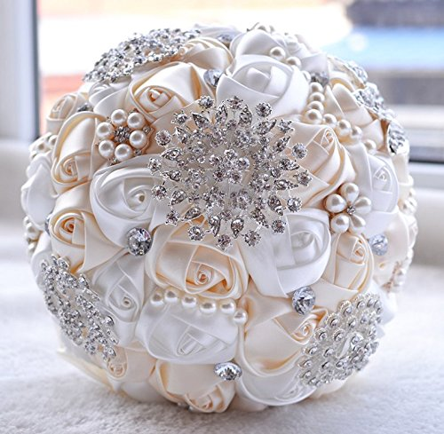 [MY DARLING] Advanced Customization Romantic Bride Wedding Holding Bouquet Roses Multi-color Selection-white+ivory yellow