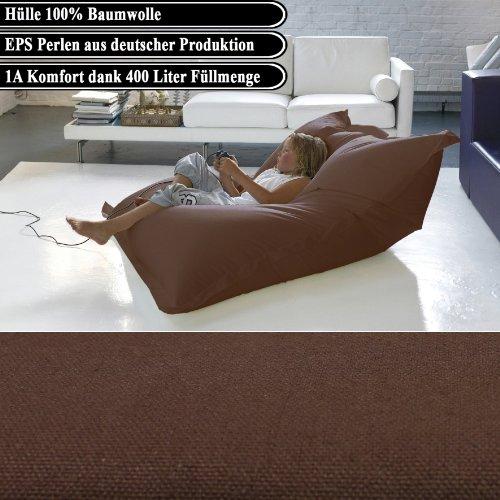 BigDean Luxus Riesensitzsack Baumwolle 1,4 x 1,8 m Indoor XL Sitzsack Braun gefüllt mit 400 Liter 1A EPS Perlen