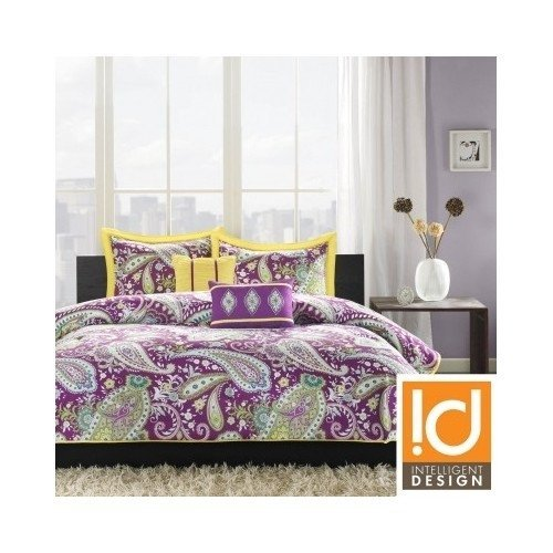 Twin Xl Comforter Set Teen Dorm Purple Paisley Bedding Yellow Modern Home Decor Bedroom Bedspread front-620734