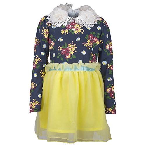 Real Real Princess Net Yellow Dress For Kids-Girls(Age Group-3-4 Years)