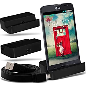 (Black)LG L90 D405 Micro-USB-Desktop-Ladestation stehen Mount & Micro USB Laptop / PC Data Sync-Ladekabel By Fone-Case