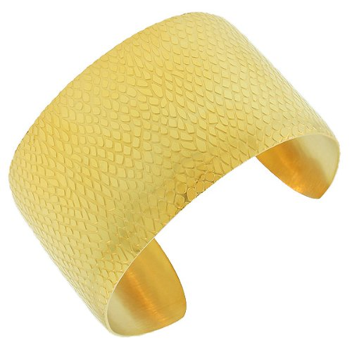 Stainless Steel Silver Yellow Gold Tone Open End Wide Womens Cuff Bangle Bracelet (Snake Skin Yellow Gold-Tone B1025)
