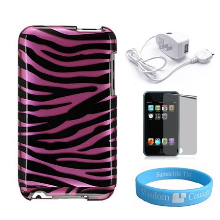 Apple iPod Touch 2nd and 3rd generation Pink Zebra Protector Case + Mirror
