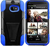 myLife Brunet Black and Neon Blue {Impact Design} Two Piece Neo Hybrid (Shockproof Kickstand) Case for the All-New HTC One M8 Android Smartphone - AKA, 2nd Gen HTC One (External Hard Fit Armor With Built in Kick Stand + Internal Soft Silicone Rubberized Flex Gel Full Body Bumper Guard)