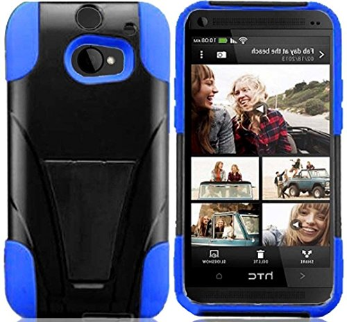 Mylife Brunet Black And Neon Blue {Impact Design} Two Piece Neo Hybrid (Shockproof Kickstand) Case For The All-New Htc One M8 Android Smartphone - Aka, 2Nd Gen Htc One (External Hard Fit Armor With Built In Kick Stand + Internal Soft Silicone Rubberized F front-49491