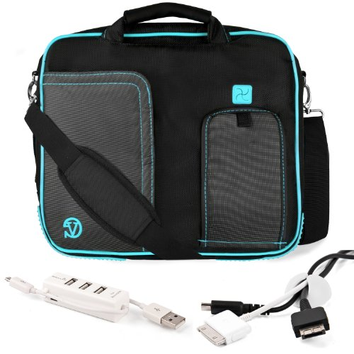 Aqua Trim Black Pindar Durable Water-Resistant Nylon Protective Carrying Case Messenger Shoulder Bag For Apple Macbook Pro 13.3-Inch Notebook Laptop + White Cable Organizer + White 3 Port Usb Hub With Micro Usb Charger front-119023