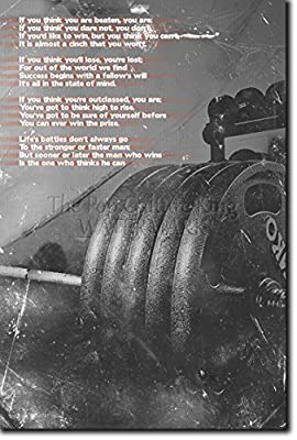 """Bodybuilding Motivational Poster 16 """"If you think you are beaten..."""" Photo Print Art Motivation Quote Inspiration Learn Body Building Weight Lifting Muscles Fitness Gym"""