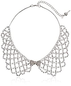 Betsey Johnson Women's Crystal Rhodium Frontal Collar Necklace Crystal Choker Necklace