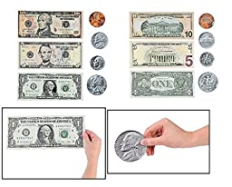 Doublesided Magnetic Money - US Dollars and Cents (51 pcs. per unit) Bills and Coins
