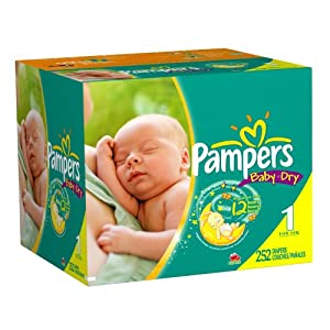 Pampers Baby Dry Diapers Economy Plus Pack, Size 1, 252 Count