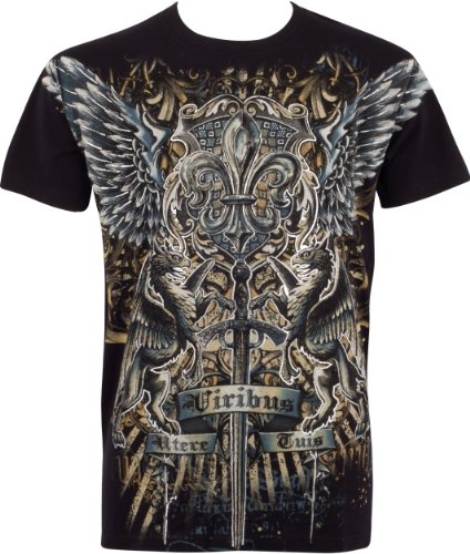 tggriffinsword035-sword-and-griffin-metallic-silver-embossed-short-sleeve-crew-neck-cotton-mens-fash