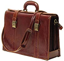 Floto Trastevere Brown Briefcase Attache Lap-top Case