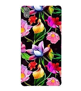 Floral Art 3D Hard Polycarbonate Designer Back Case Cover for Sony Xperia E5 : Sony Xperia E5 Dual