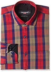 Dennison Men's Formal Shirt (SS-16-398_42_Red)