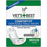 Veterinarian's Best Comfort-Fit 12 Count Disposable Male Wrap, Medium
