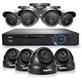 SANNCE® 8CH Full 960H CCTV DVR + Super 8 900TVL Superior Night Vision Outdoor/Indoor Video Surveillance Security Camera System QR Code Scan Remote Access No HDD (4 Bullet+4 Dome cameras--NO HDD)