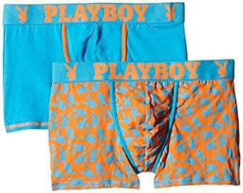 Playboy - Crazy Print - Boxer - Imprimé - Lot de 2 - Homme - Bleu (Blue Pop/Imprimé Pop Rabbit) - FR : Large (Taille fabricant : 4)