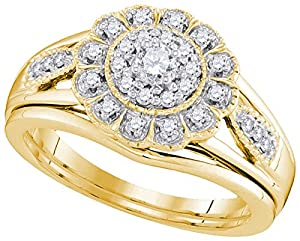 10kt Yellow Gold Womens Natural Diamond Round Bridal Wedding Engagement Ring Band Set (.33 cttw.)