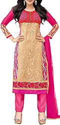 VIDA Women's Georgette Salwar Suit Material (Pink)