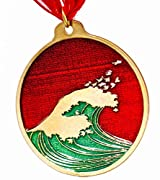 Hokusai Wave Red and Green Enamel Holiday Ornament with Ribbon