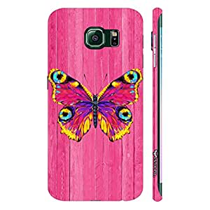 Samsung Galaxy Note5 Edge Butterfly on a Pink Wall designer mobile hard shell case by Enthopia
