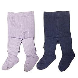 Bowbear 2-Pair Girls Warm Winter Cotton Ribbed Tights, Dark Blue & Light Purple, 4-5 Years