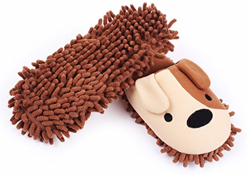 HomeTop Plush Fluffy Cute Animal Microfiber Mop Cleaning House Slippers, Shoes For Women 8-9 (L, Brown / White Dog)
