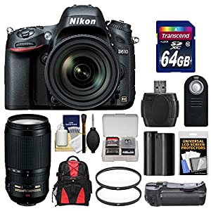Nikon D610 Digital SLR Camera & 24-85mm VR AF-S Zoom Lens with 70-300mm VR AF-S Lens + 64GB Card + Backpack + Grip + Battery + Filters + Remote Kit