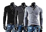 おしゃれ ヘンリーネックTシャツ メンズ 長袖 黒 濃灰 灰