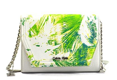 Calvin Klein Hailey Convertible Crossbody Bag Purse Clutch, White Green