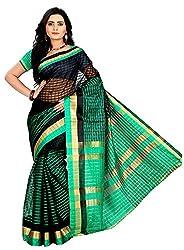 Veer Prabhu Creation Women's Cotton Saree with Blouse Piece (Black & Green)