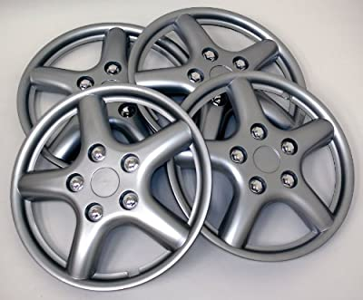 TuningPros WSC-028BS15 Hubcaps Wheel Skin Cover 15-Inches Silver Set of 4
