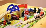 Zabrina City Road and Rail Overpass Wooden Railway Traffic Building Set - 40 piece Puzzle Blocks Rail Overpass Traffic Scene Combinations Toy