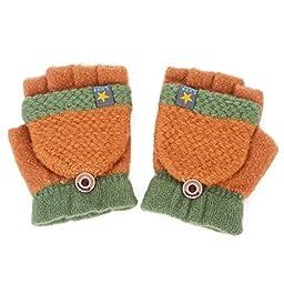 Flammi Unisex Kids Knitted Convertible Flip Top Gloves Mittens Winter Half Finger Gloves (Pair) (Light Brown)