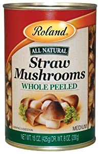 Roland Mushrooms, Straw Whole Peeled, 15-Ounce (Pack of 8)