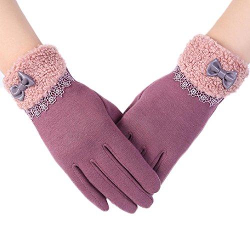 Bigban 1 Pair Womens New Fashion Touch Screen Winter Outdoor Sport Warm Gloves (Purple)