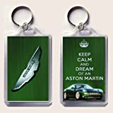 KEEP CALM and DREAM of an ASTON MARTIN Keyring printed on an image of an Aston Martin DB9 on one side and the iconic Aston Martin badge on the other, from our Keep Calm and Carry On series - an original