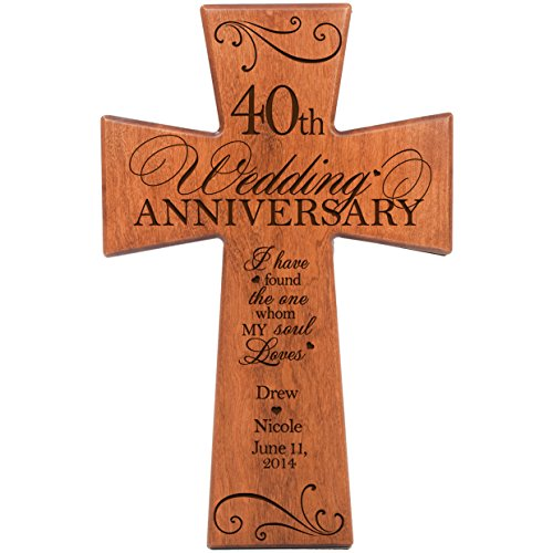 Gift for Couple Cherry Wall Cross, 40th Ruby Gifts for Her 40 year ...