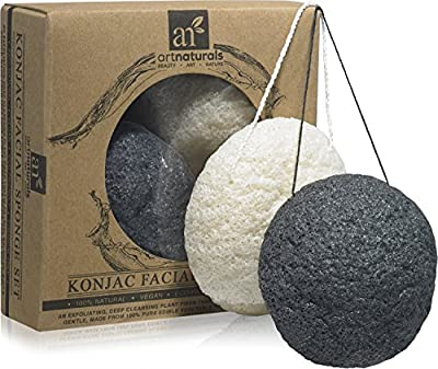 Art Naturals Konjac Facial Sponge Set - 2 Pack (Charcoal Black & Natural White)100% Natural Great for Sensitive, Oily & Acne Prone Skin -Best Beauty Facial Scrub for gentle deep cleaning & exfoliation