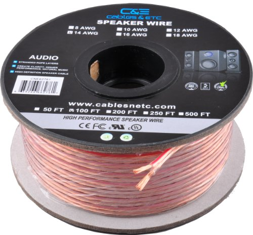 C&E 100 Feet 14Awg Enhanced Loud Oxygen-Free Copper Speaker Wire Cable
