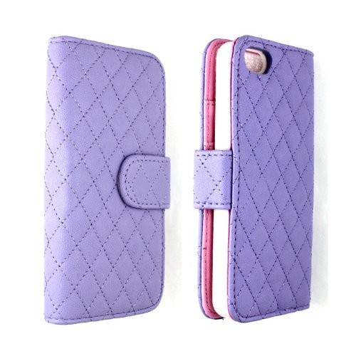 Kiko Wireless Premium Quilted Square Diamond Design Flip Pu Leather Wallet Series Window Id Credit Card Holder Hard Protector Case Cover With Stand For Apple Iphone 5/5S (Purple) - Retail Packaging