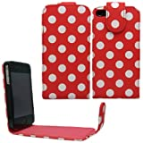 Sleek Gadgets - Red Polka Dots Series Flip Case Cover for Apple iPhone 4, iPhone 4S, 4 S 8GB, 16GB