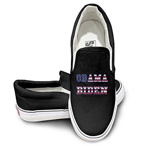 [PTCY Obama And Biden Flag Slip-on Unisex Flat Canvas Shoes Sneaker 44 Black] (Barack Obama Face Mask)