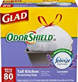 Glad OdorShield Tall Kitchen Drawstring Trash Bags, Lavender, 13 Gallon,