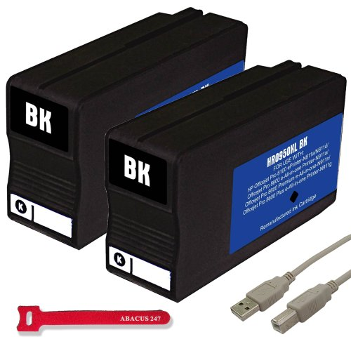 Remanufactured Replacement Hp For 950Xl (Cn049An, Cn045An,Cn045An) High Capacity Black Ink Cartridge - 2 Pack - For Use With: Hp Office