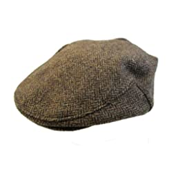 John Hanly & Co. Irish Tweed Flat Cap - Brown Herringbone - Made in Ireland