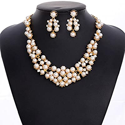 Women's Party Wedding jewelry Sets Elegant Rose Gold Plated Faux Pearl Crystal Collar Necklace Earrings
