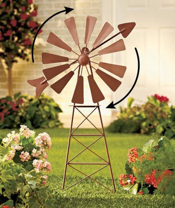 Rustic Country Metal Windmill Yard Art
